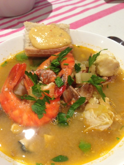 My dad's bouillabaisse, served up with rouille.