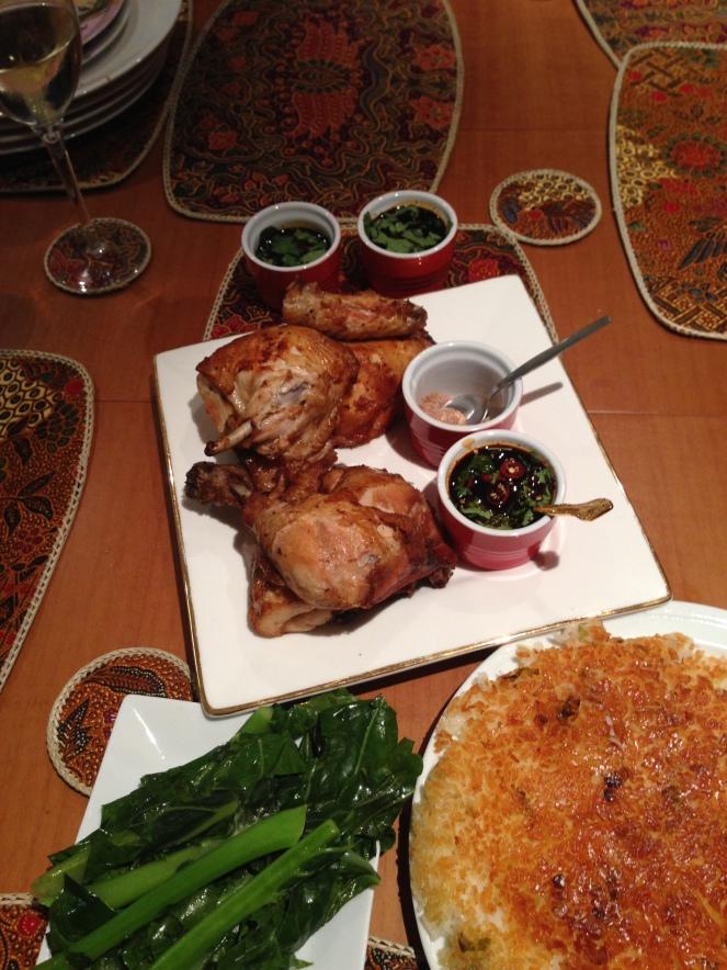 A chicken dinner