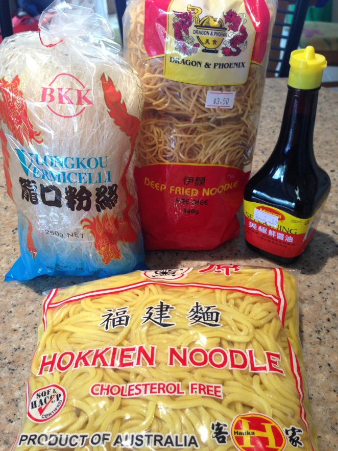 Noodles much? Plus a bottle of Magi Seasoning that Kylie Kwong  uses in a lot of her recipes.