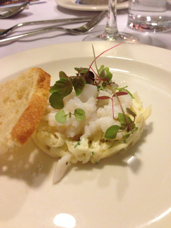 Shark bay crab mayonnaise, apple and celeriac salad, Melba toast