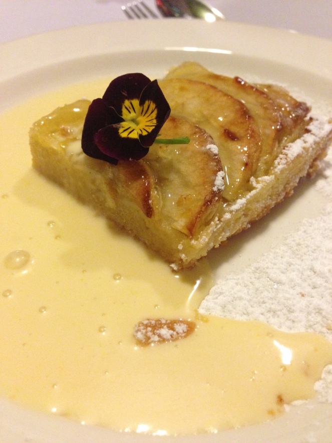 Normandy apple tart with Calvados custard