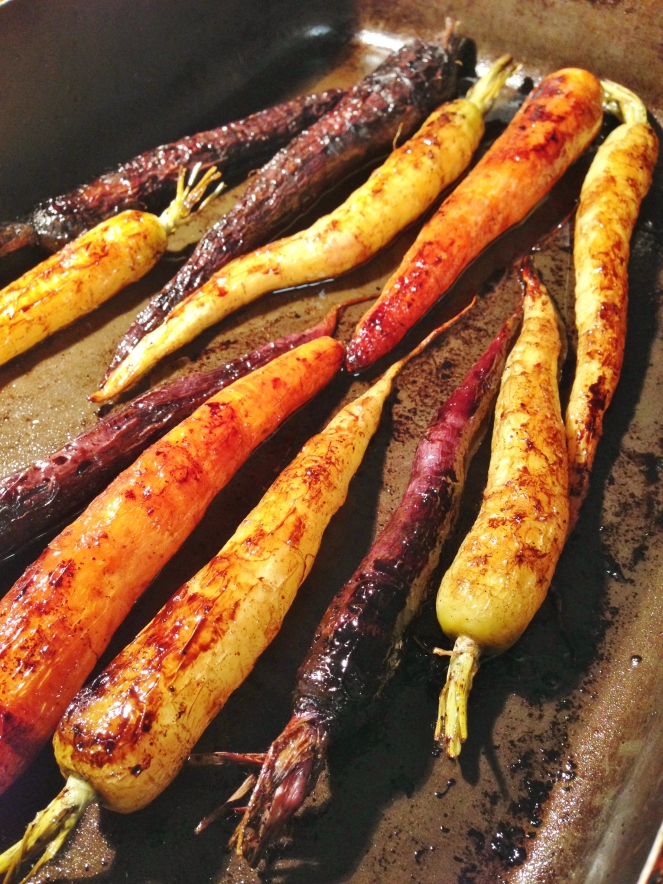 Purple and heritage roasted carrots