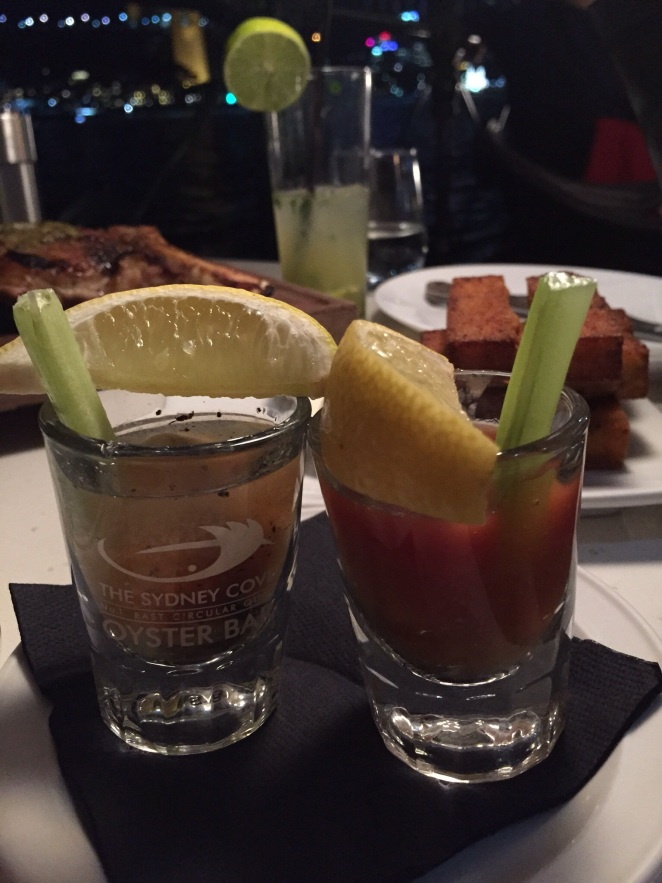 Bloody Mary, oyster shot, Virgin Mary oyster shot, SCO, Sydney Cover Oyster bar
